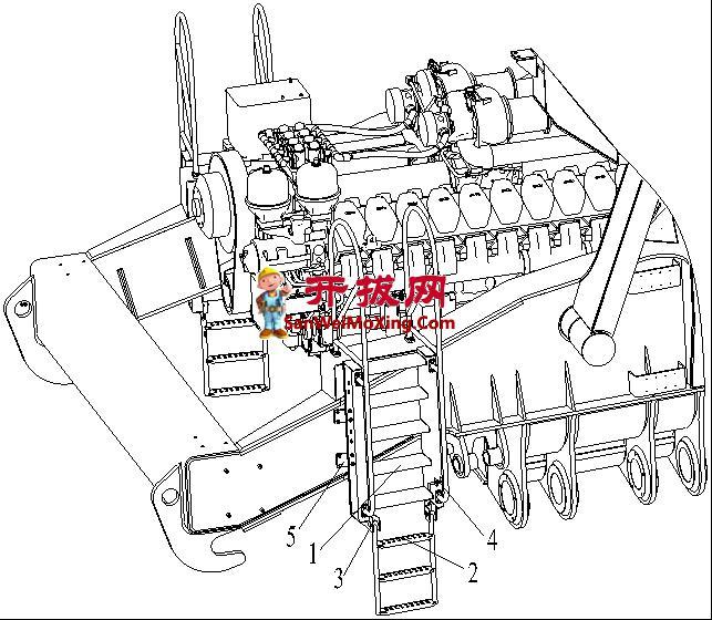 一种大型矿车发动机折叠检修梯